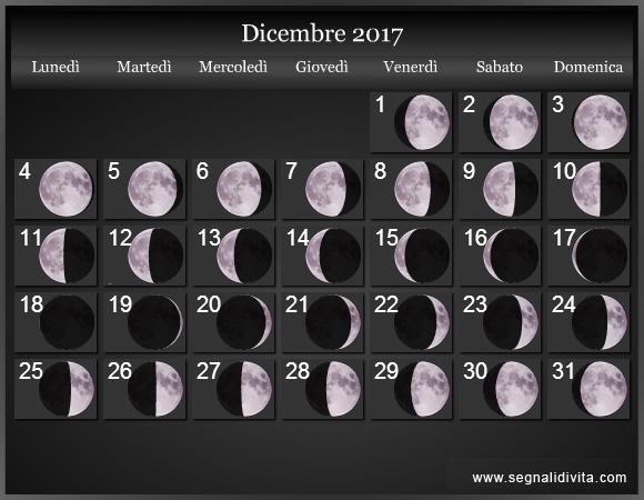 Calendario Lunare Dicembre 2017.Calendario Lunare Dicembre 2017 Fasi Lunari Calendario