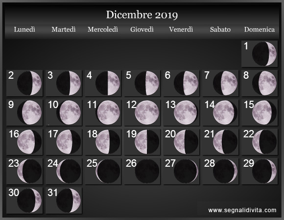 Calendario Lunare Dicembre 2019 :: Fasi Lunari