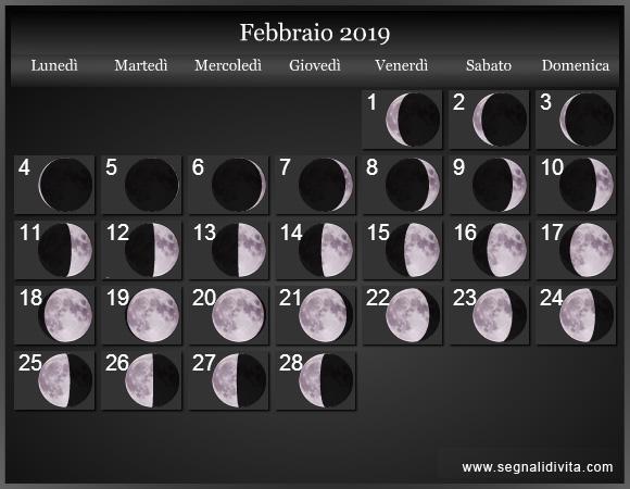 Calendario Lunare Febbraio 2019 :: Fasi Lunari