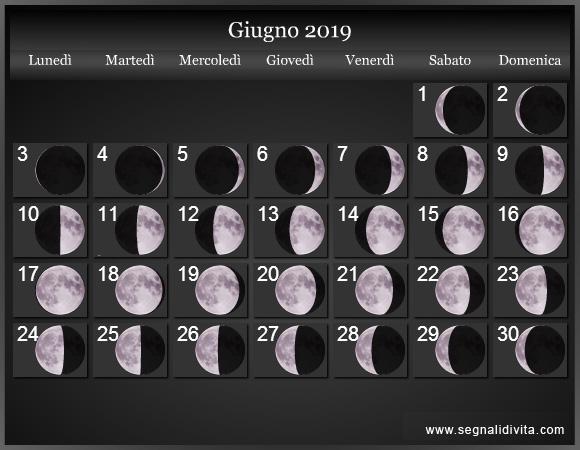 Calendario Lunare Giugno 2019 :: Fasi Lunari