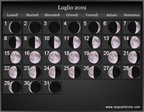 Calendario Lunare Luglio 2019 :: Fasi Lunari