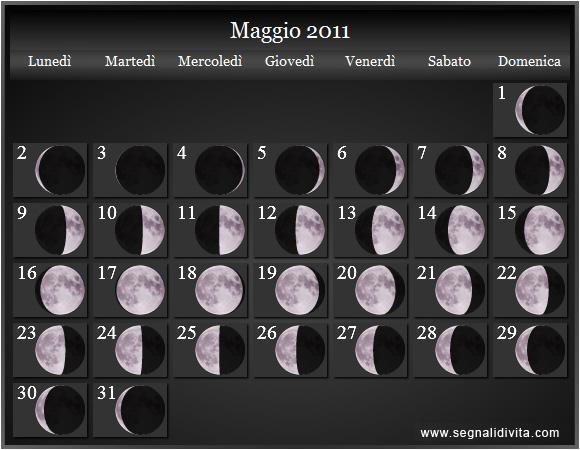 Calendario Lunare Maggio.Calendario Lunare Maggio 2011 Fusi Orari Calendario Lunare