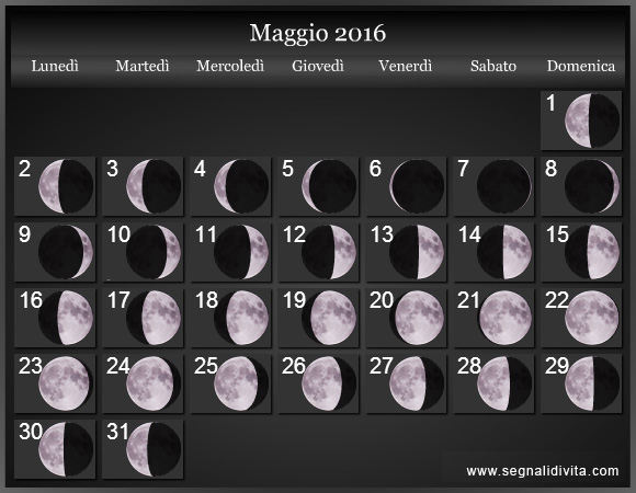 Calendario Lunare Maggio.Calendario Lunare Maggio 2016 Fasi Lunari Calendario Lunare