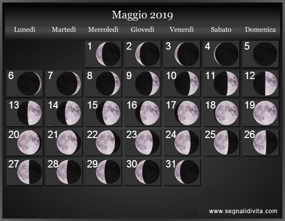 Calendario Lunare Maggio 2019 :: Fasi Lunari
