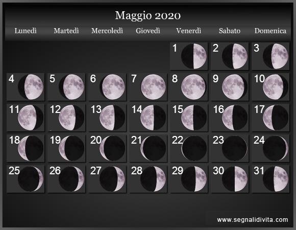 Calendario Maggio 2020.Calendario Lunare Maggio 2020 Fasi Lunari Calendario Lunare