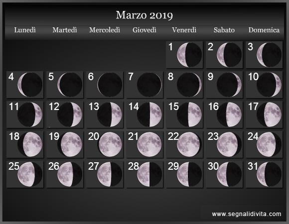 Calendario Lunare Marzo 2019 :: Fasi Lunari