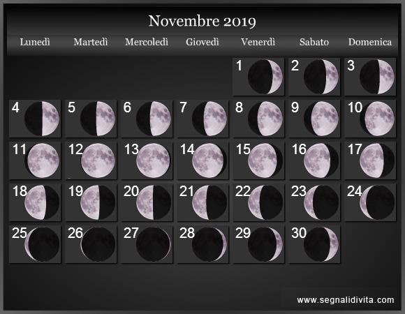 Calendario Lunare Novembre 2019 :: Fasi Lunari
