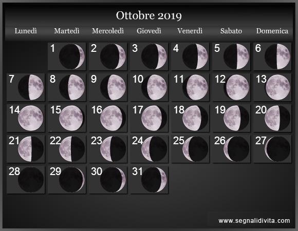 Calendario Lunare Ottobre 2019 :: Fasi Lunari