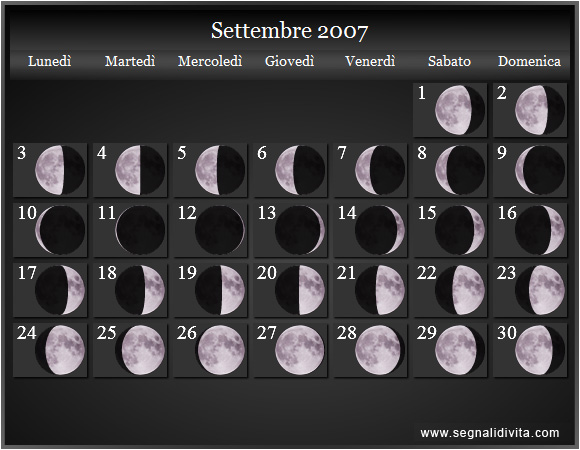 Calendario Settembre 2007.Calendario Lunare Settembre 2007 Fasi Lunari Calendario